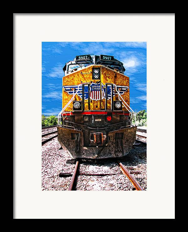 Train Framed Print featuring the photograph Day Train by Wendy J St Christopher