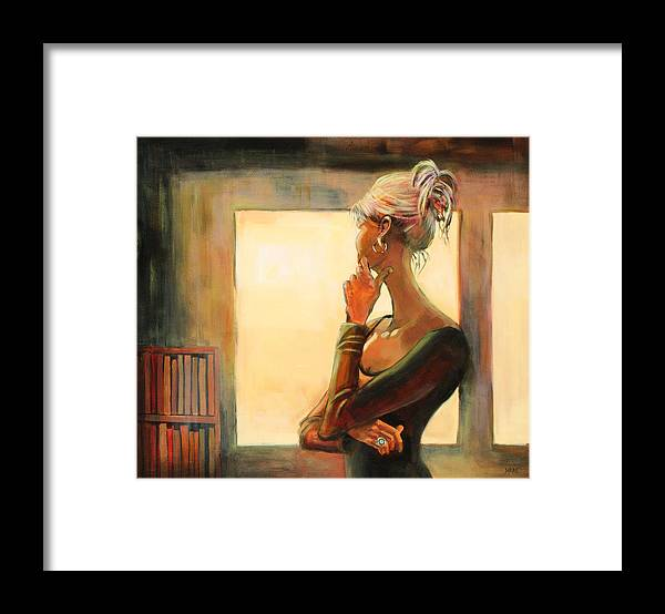 Woman Framed Print featuring the painting Daydreaming by Sue Darius