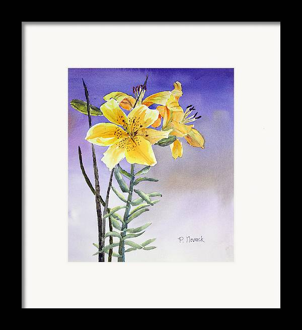Lily Framed Print featuring the painting Daylilies by Patricia Novack