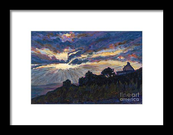 Sunset Framed Print featuring the painting Day's End - Dingle Bay by Betsee Talavera