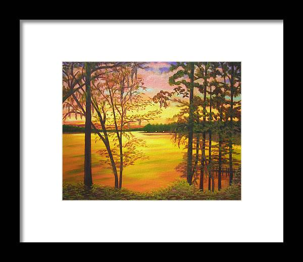 Lake Framed Print featuring the painting Day's End On Lake Talquin by Douglas Ann Slusher