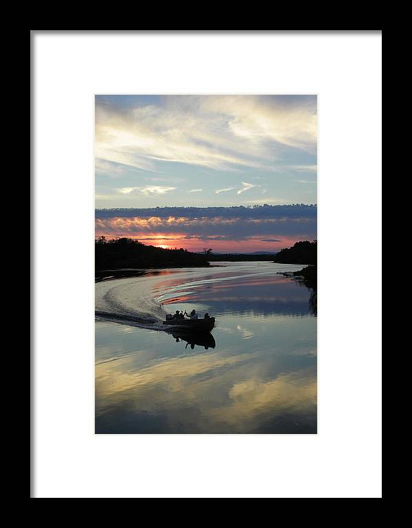 Boat Framed Print featuring the photograph Day's End On The Sebec River by Georgia Hamlin