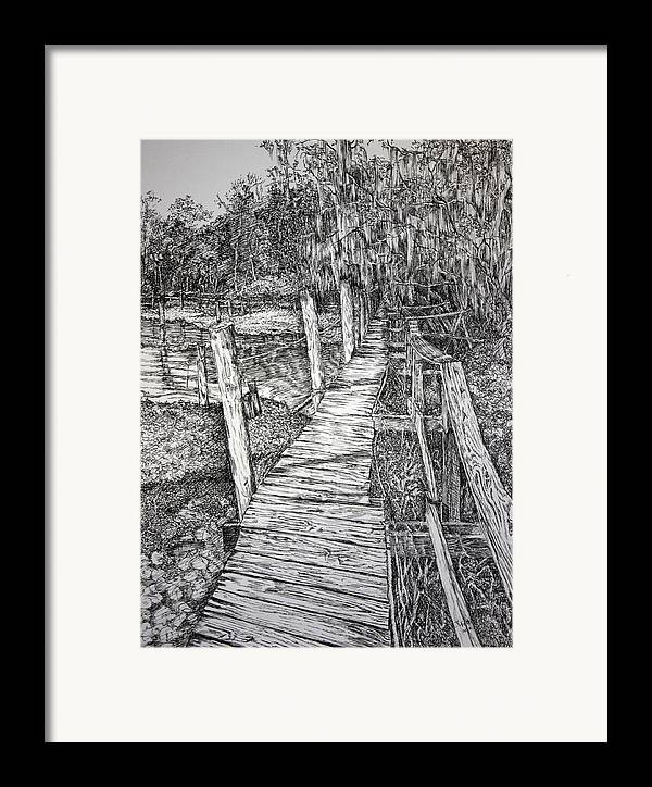 Florida Landscape Framed Print featuring the drawing Days Gone By by Janet Felts