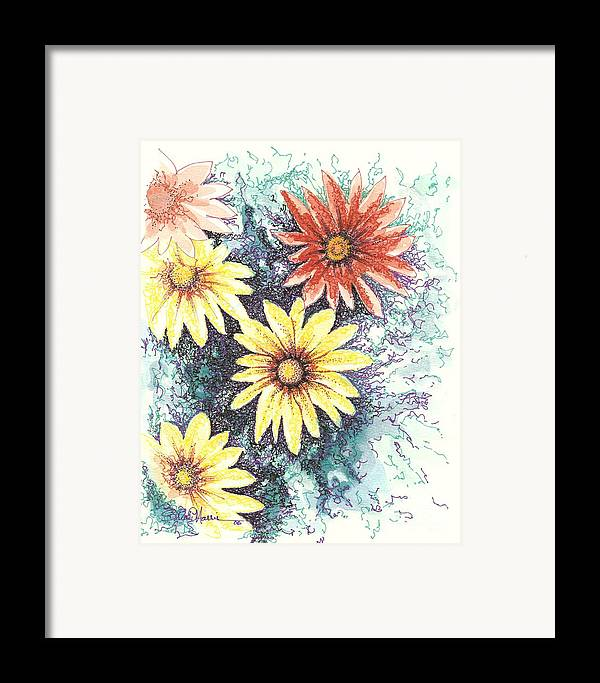 Daisies Framed Print featuring the mixed media Dazzeled by Brian Edward Harris