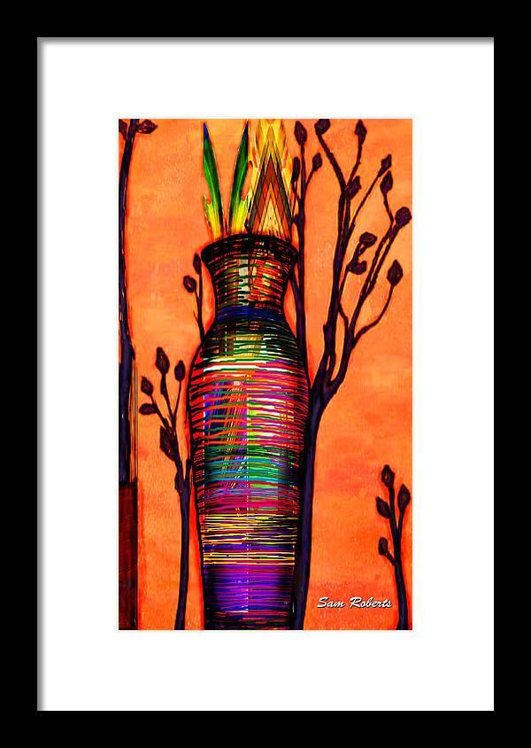 Vase Framed Print featuring the digital art De Vase by Sam Roberts