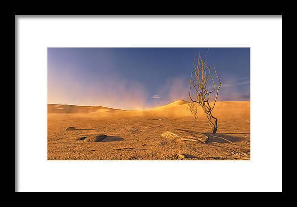 Desert Framed Print featuring the digital art Dead Lands by Marina Likholat