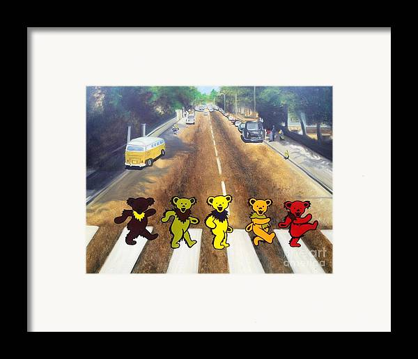 Beatles Framed Print featuring the painting Dead On Abbey Road by Jen Santa