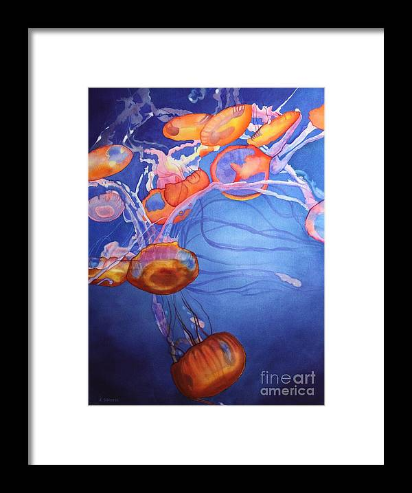 Jellyfish Framed Print featuring the painting Deadly Beauty by Amanda Schuster