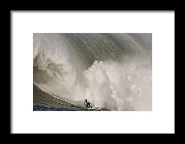 Mavericks Surf Contest Framed Print featuring the photograph Death-defying Ride On A Surfboard by Scott Lenhart