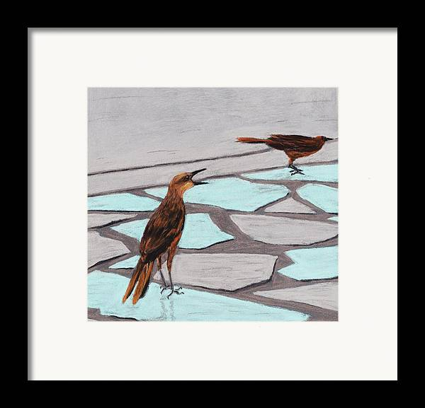 Death Valley Framed Print featuring the painting Death Valley Birds by Anastasiya Malakhova