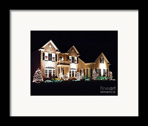 House Framed Print featuring the photograph Decorated For Christmas by Sarah Loft