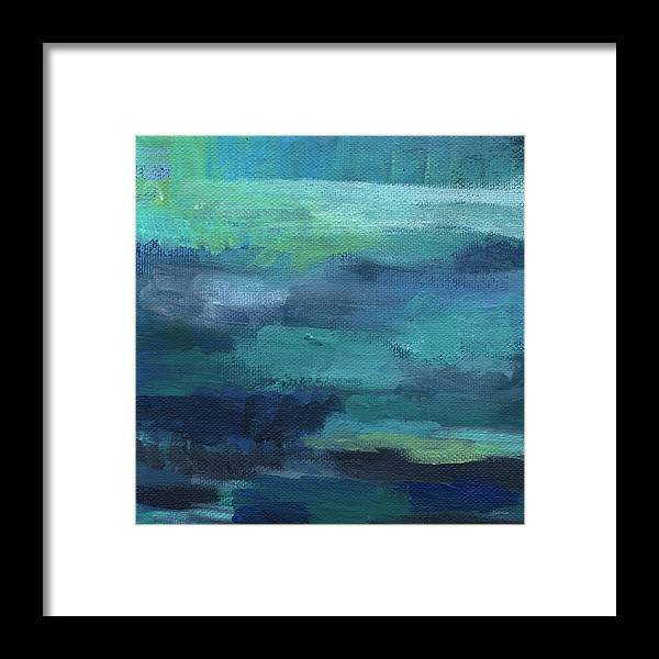 Blue Framed Print featuring the painting Tranquility- abstract painting by Linda Woods