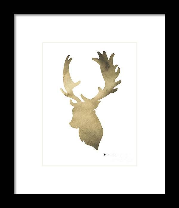 Deer Framed Print featuring the painting Deer Antlers Original Watercolor Art Print by Joanna Szmerdt