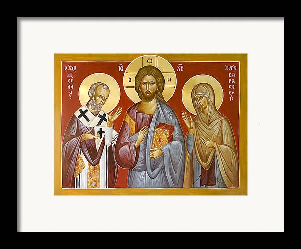 Deisis Icon Framed Print featuring the painting Deisis Jesus Christ St Nicholas And St Paraskevi by Julia Bridget Hayes