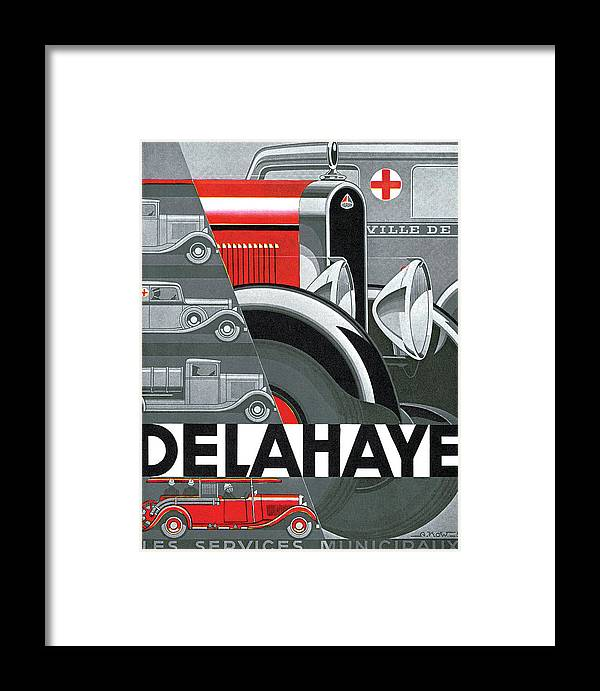 Advertisement Framed Print featuring the drawing Delahaye Cars - Vintage Poster by World Art Prints And Designs