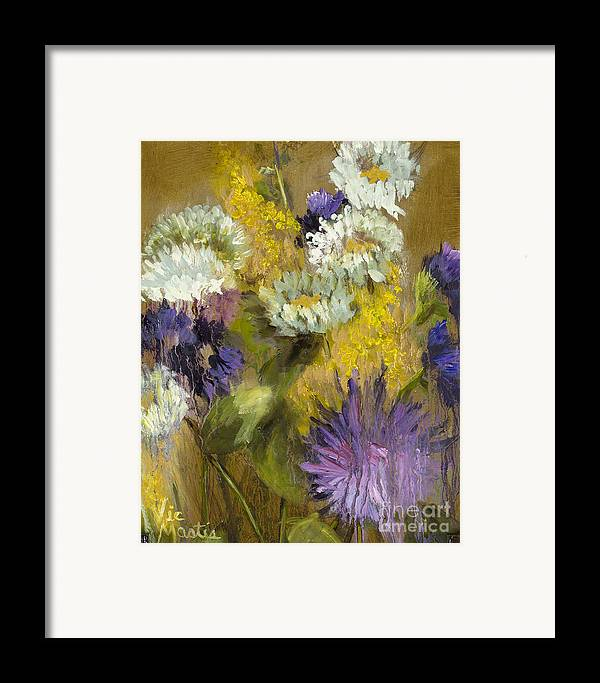 Flower Framed Print featuring the painting Delicate Aroma I -unframed-with Gold Leaf By Vic Mastis by Vic Mastis