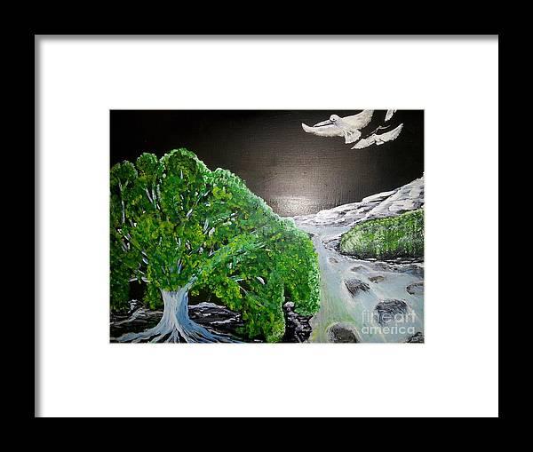 White Pelicans Fly Over A Rapidly Flowing River And Beautiful Green And Blue Tree And See The Ocean That Awaits Them. Framed Print featuring the painting Delighted Sighting by Greg Kinsman