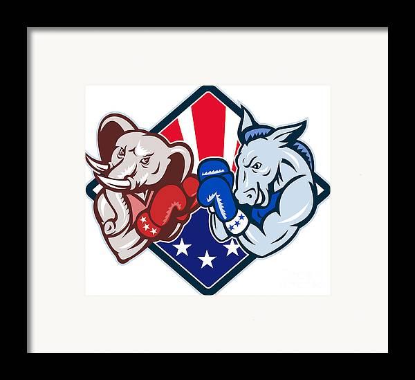 Donkey Framed Print featuring the digital art Democrat Donkey Republican Elephant Mascot Boxing by Aloysius Patrimonio