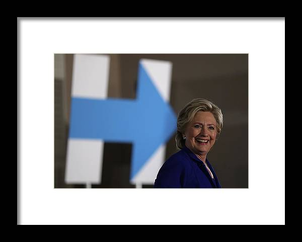 Nominee Framed Print featuring the photograph Democratic Presidential Nominee Hillary by Justin Sullivan