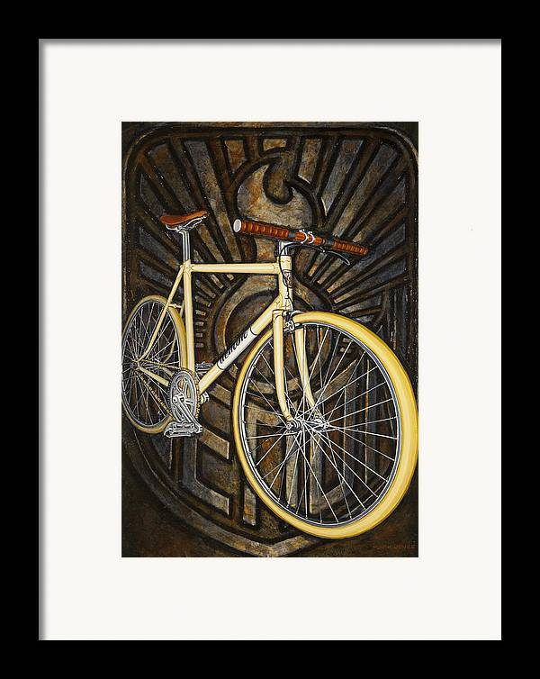 Bicycle Framed Print featuring the painting Demon Path Racer Bicycle by Mark Jones