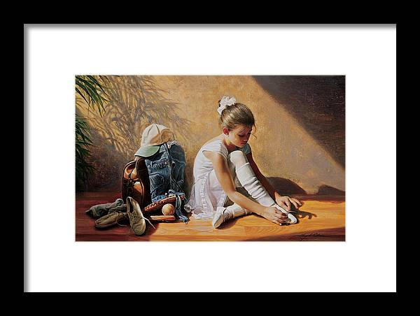 Dancer Framed Print featuring the painting Denim To Lace by Greg Olsen