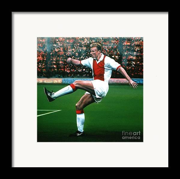 Dennis Bergkamp Framed Print featuring the painting Dennis Bergkamp Ajax by Paul Meijering