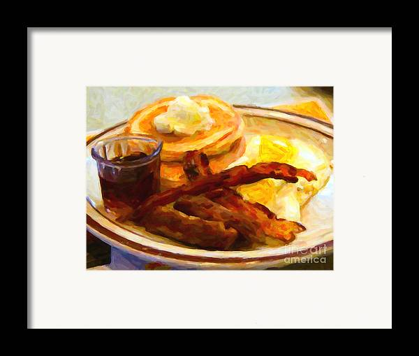 Breakfast Framed Print featuring the photograph Denny's Grand Slam Breakfast - Painterly by Wingsdomain Art and Photography