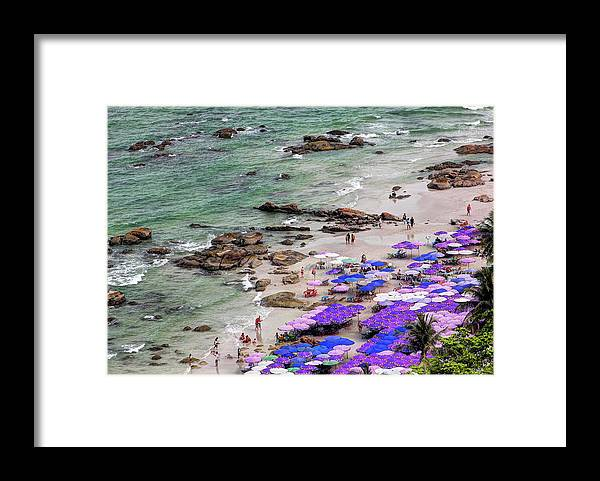 Water's Edge Framed Print featuring the photograph Densely Packed Umbrellas Hua Hin Beach by Igor Prahin