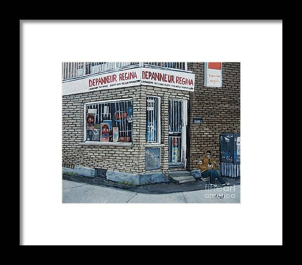 Verdun Paintings Framed Print featuring the painting Depanneur Regina by Reb Frost