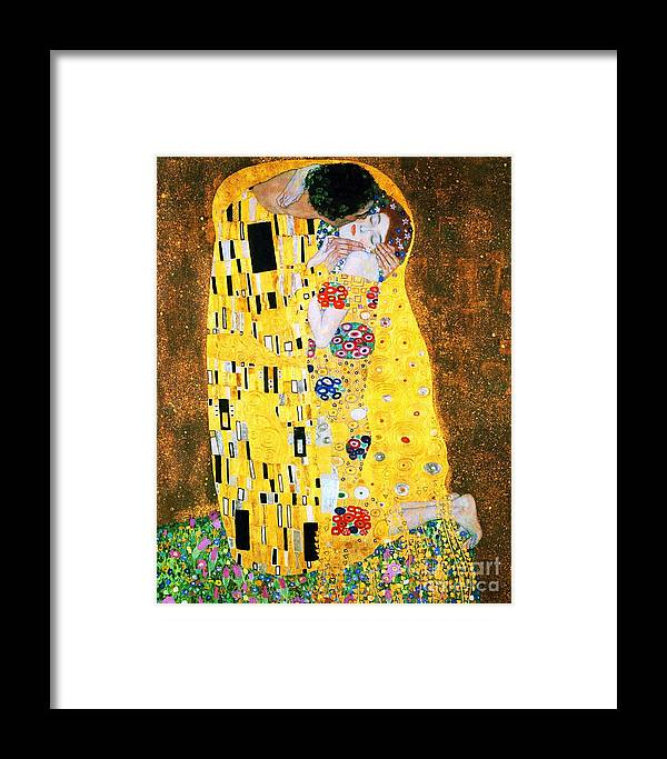 Pd Framed Print featuring the painting Der Kuss Or The Kiss. by Pg Reproductions