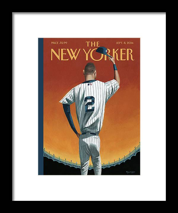 Retirement Framed Print featuring the painting Derek Jeter Bows Out by Mark Ulriksen