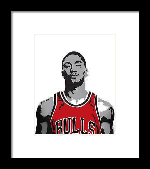 Derrick Rose Framed Print featuring the digital art Derrick Rose by Mike Maher