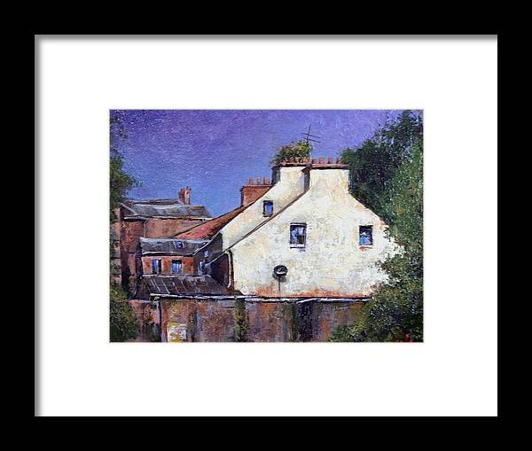 Irish Framed Print featuring the painting Derry Gables by Jim Gola