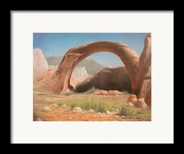 Realism Framed Print featuring the painting Desert Arch by Donelli DiMaria
