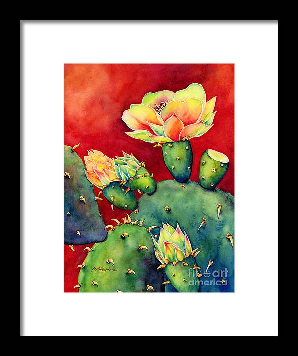 Cactus Framed Print featuring the painting Desert Bloom by Hailey E Herrera