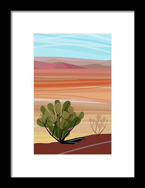 Saguaro Cactus Framed Print featuring the photograph Desert, Cactus Brush, Mountains In by Charles Harker