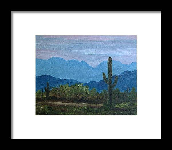 Desert Framed Print featuring the painting Desert Evening by Judi Pence