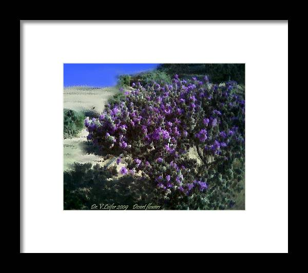 Landscape Framed Print featuring the digital art Desert flowers by Dr Loifer Vladimir