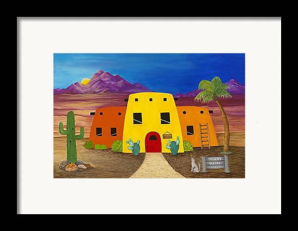 Whimsicle Desert Inn Has Vacancy Framed Print featuring the painting Desert Oasis by Carol Sabo