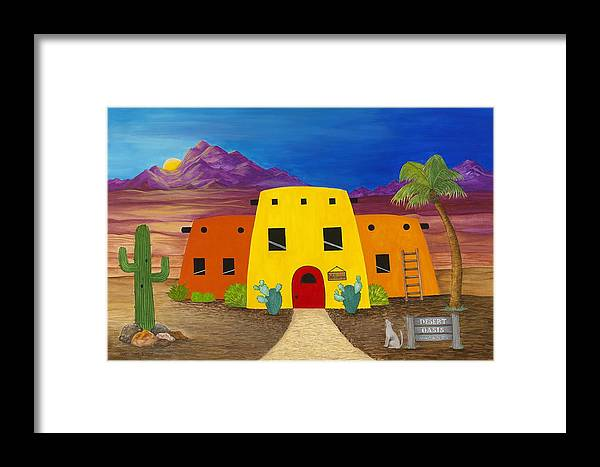 Whimsicle Desert Inn Has Vacancy Framed Print featuring the painting Desert Oasis by Carol Sabo