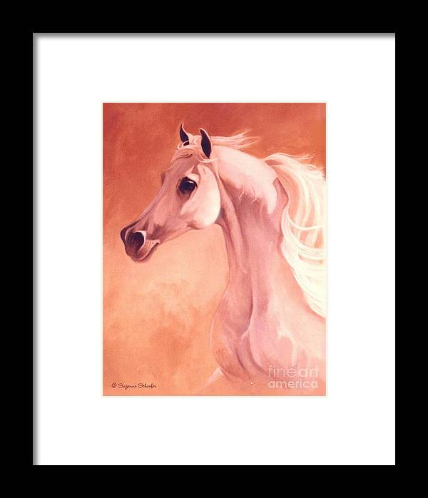 Horses Framed Print featuring the painting Desert Prince Arabian Stallion by Suzanne Schaefer