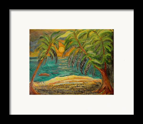 Tropical Framed Print featuring the painting Deserted Tropical Sunset by Louise Burkhardt