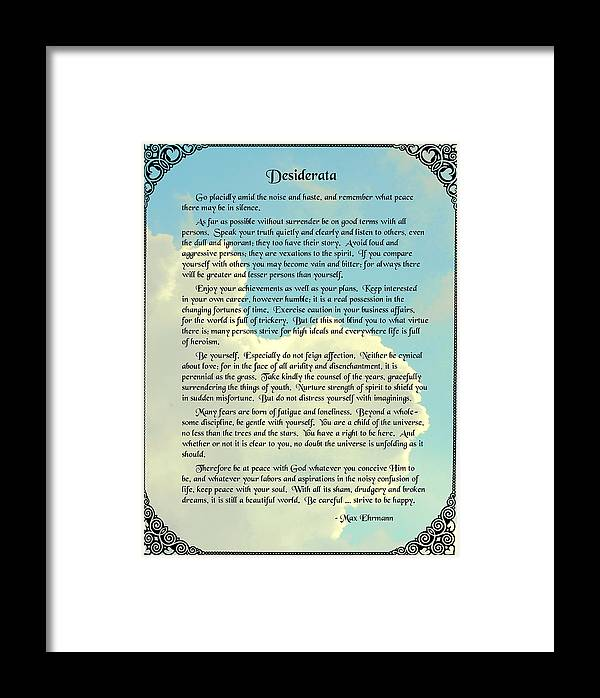 Desiderata Framed Print featuring the photograph Desiderata 4 by Mike Flynn