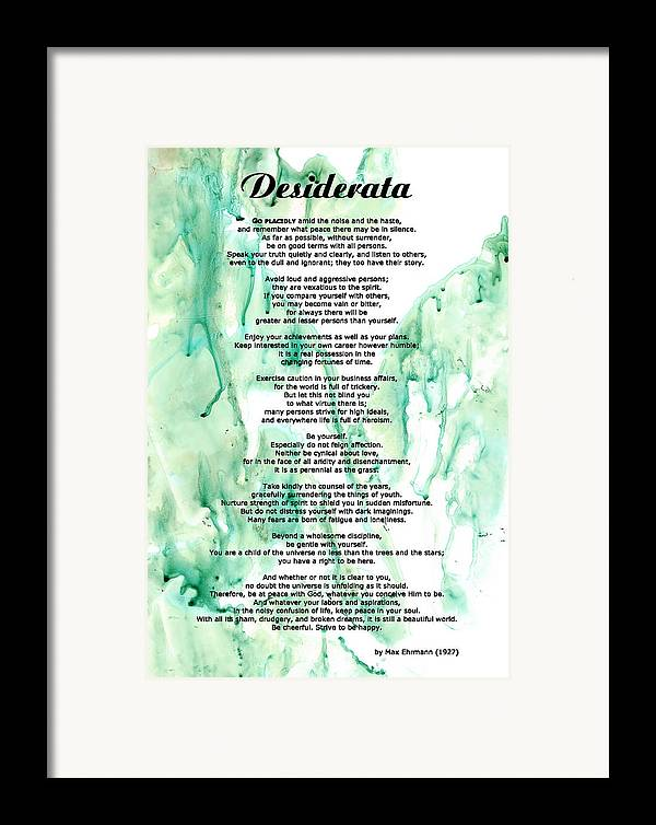 Desiderata Framed Print featuring the painting Desiderata - Words Of Wisdom by Sharon Cummings