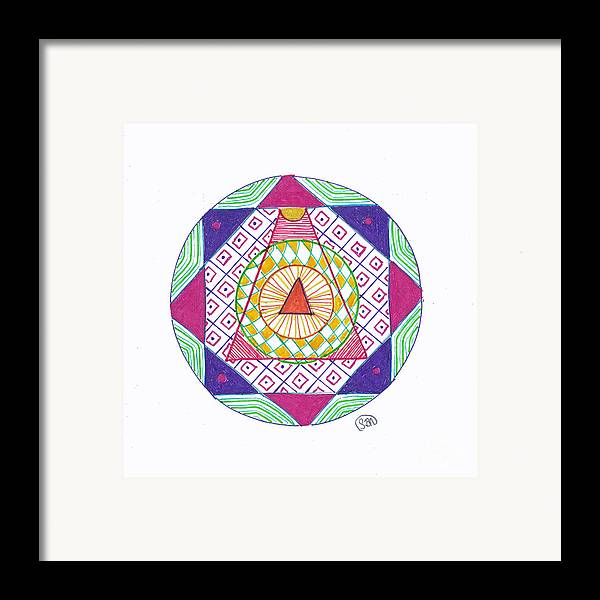 Mandala Framed Print featuring the drawing Destination by Signe Beatrice