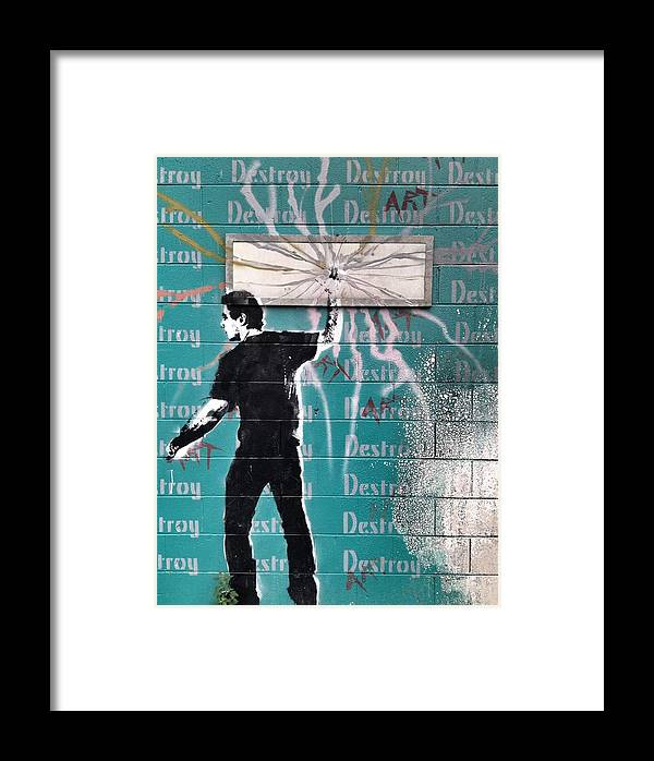 Blue Framed Print featuring the photograph Destroy My Walls by The Artist Project