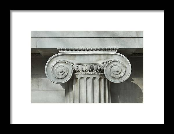 Shadow Framed Print featuring the photograph Detail an ionic column by Norman Posselt