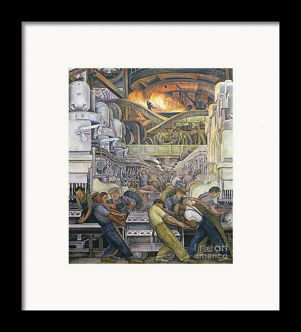Machinery Framed Print featuring the painting Detroit Industry North Wall by Diego Rivera