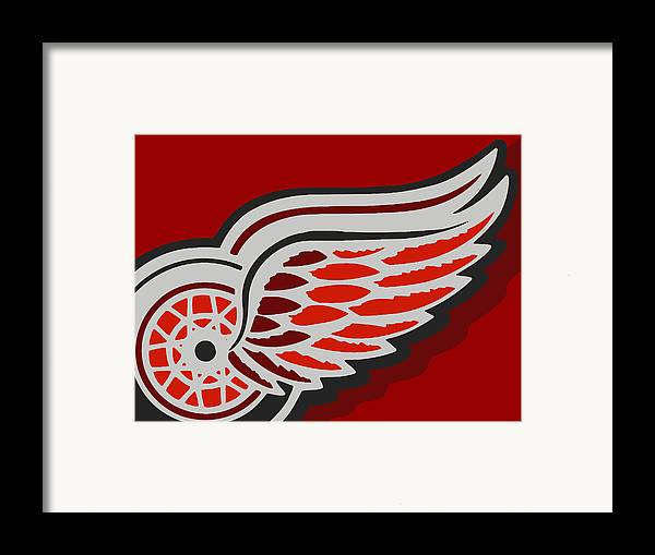 Detroit Framed Print featuring the painting Detroit Red Wings by Tony Rubino