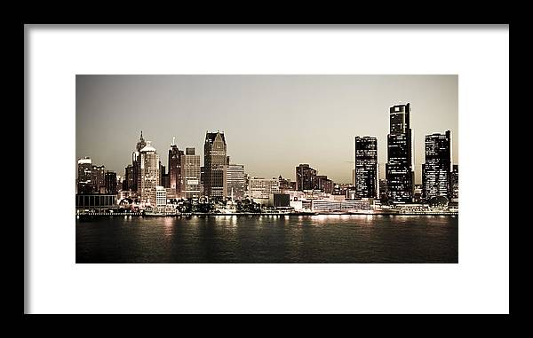 Detroit Framed Print featuring the photograph Detroit Skyline at Night by Levin Rodriguez